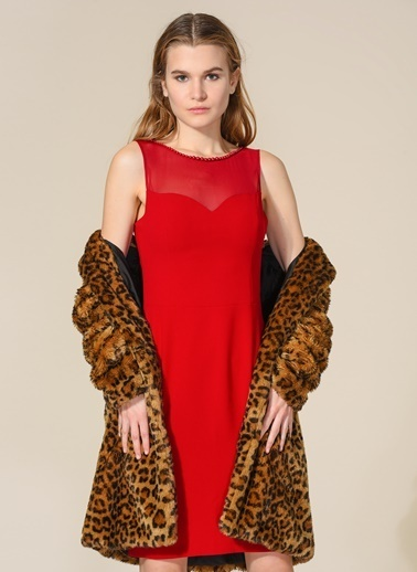 Agenda Yaka Detaylı Elbise Bordo